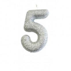 Vela Aniversário Silver Nº 5