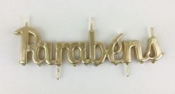 Vela Artesanal Dourada Parabéns 21 cm