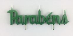 Vela Artesanal Verde Parabéns 21 cm