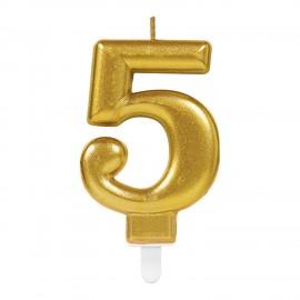 Vela de acabamento metálico Dourada Nº5