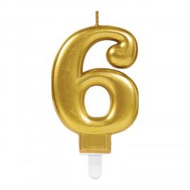 Vela Dourado Metálico Nº 6