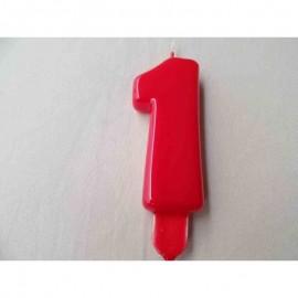Vela nº 1 Vermelho 9,5cm