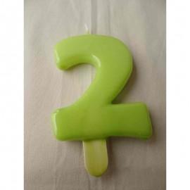 Vela nº 2 Verde Pistachio 9,5cm