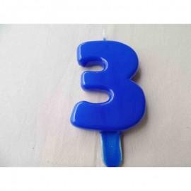 Vela nº 3 Azul 9,5cm