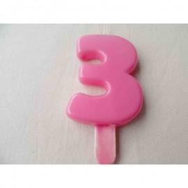 Vela nº 3 Rosa 9,5cm