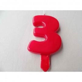 Vela nº 3 Vermelho 9,5cm