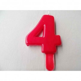 Vela nº 4 Vermelho 9,5cm