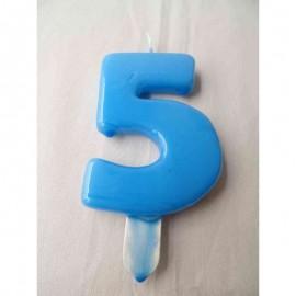 Vela nº 5 Azul Bebé 9,5cm