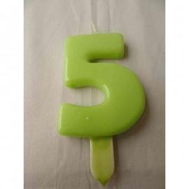 Vela nº 5 Verde Pistachio 9,5cm