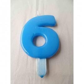 Vela nº 6 Azul Bebé 9,5cm