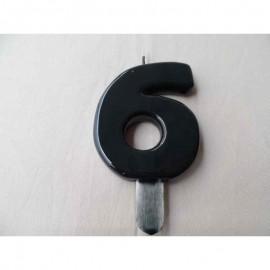 Vela nº 6 Preto 9,5cm