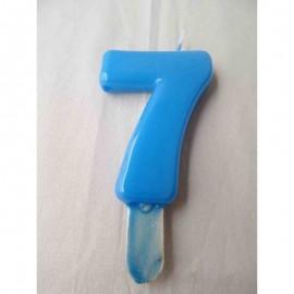 Vela nº 7 Azul Bebé 9,5cm