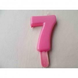 Vela nº 7 Rosa 9,5cm
