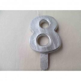Vela nº 8 Prateado 9,5cm