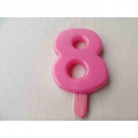 Vela nº 8 Rosa 9,5cm