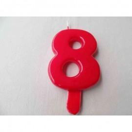 Vela nº 8 Vermelho 9,5cm