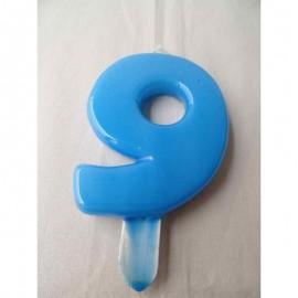 Vela nº 9 Azul Bebé 9,5cm