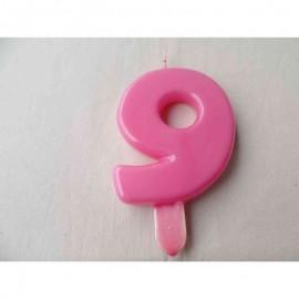Vela nº 9 Rosa 9,5cm