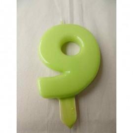 Vela nº 9 Verde Pistachio 9,5cm