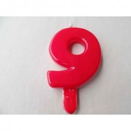 Vela nº 9 Vermelho 9,5cm