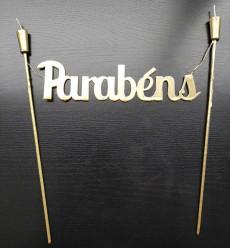 Vela Topper de Bolo Parabéns 27cm Dourada