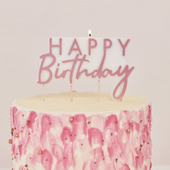Vela Topper Happy Birthday Rose Gold